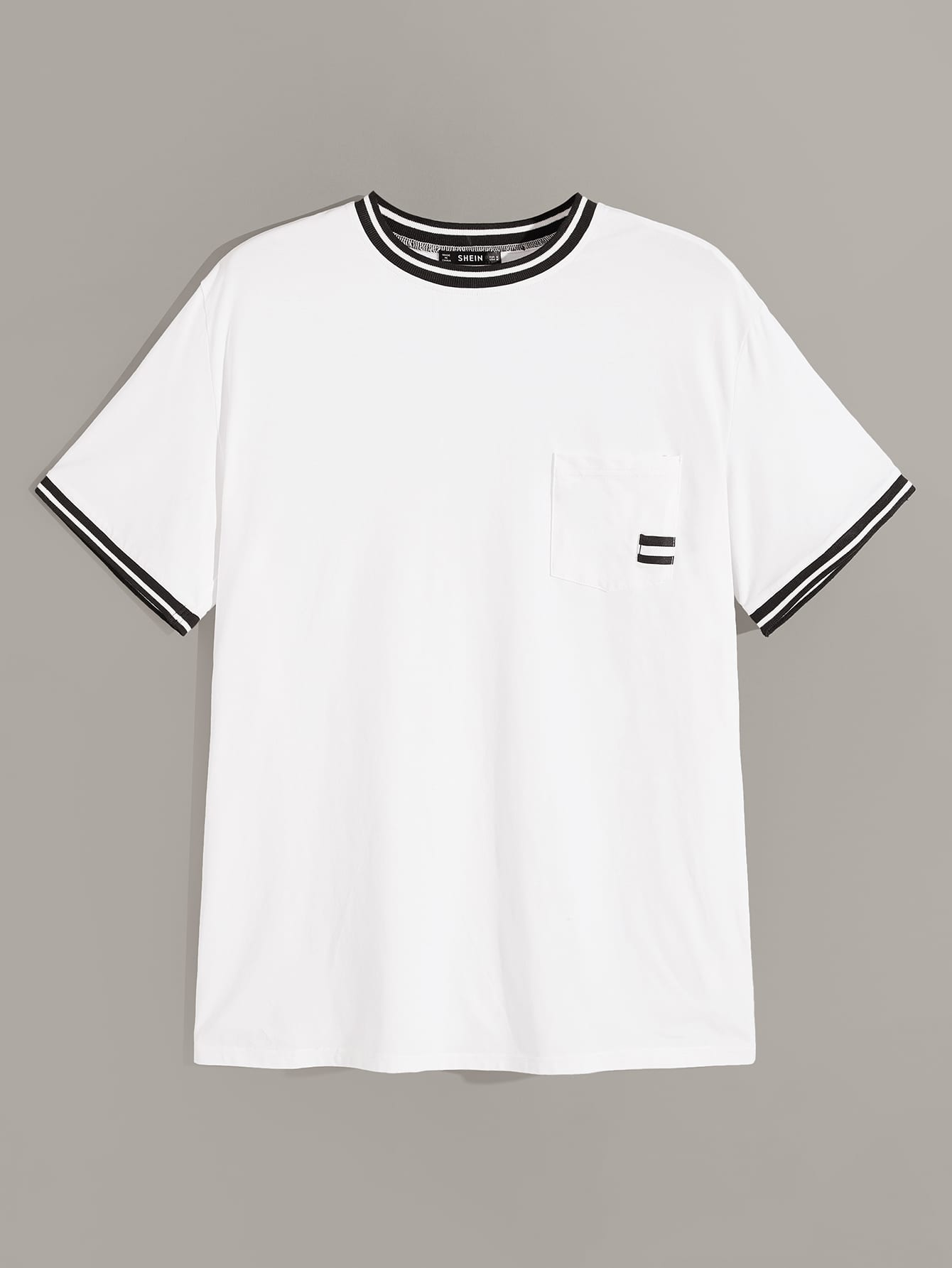 Фото - Мужская футболка с полосками и карманом от SheIn белого цвета