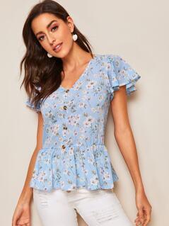 Button Up Ditsy Floral Peplum Tea Blouse