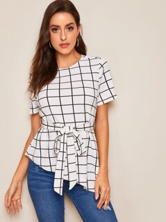Keyhole Back Flounce Sleeve Grid Belted Top