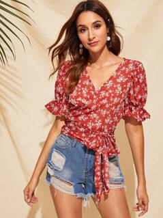 Ruffle Sleeve Belted Ditsy Floral Top