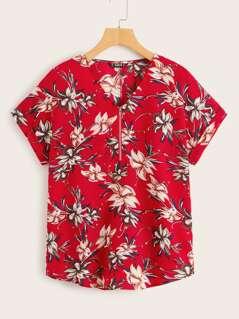 Zip Half-placket Floral Blouse