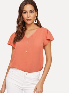 Butterfly Sleeve Pearls Beaded Top