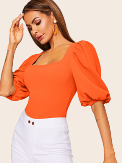 Neon Orange Square Neck Puff Sleeve Top