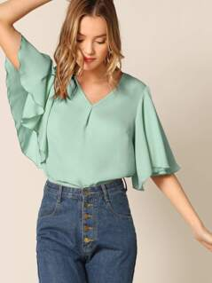 V-neck Flutter Sleeve Solid Blouse