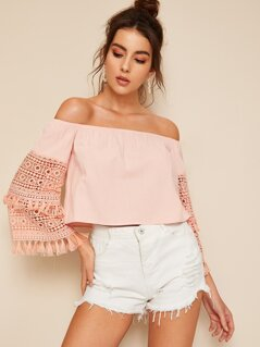 Off Shoulder Guipure Lace Tassel Trim Shoulder Blouse