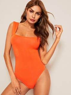 Neon Orange Open Back Thick Strap Bodysuit