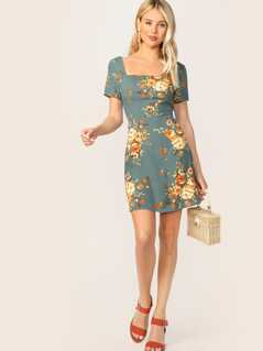 Zipper Back Square Neck  Floral Print Dress