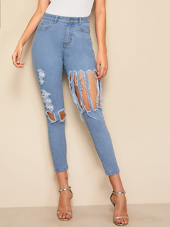 Light Wash Destroyed Ripped Skinny Jeans
