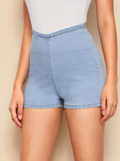 Light Wash Zip Side Skinny Denim Shorts