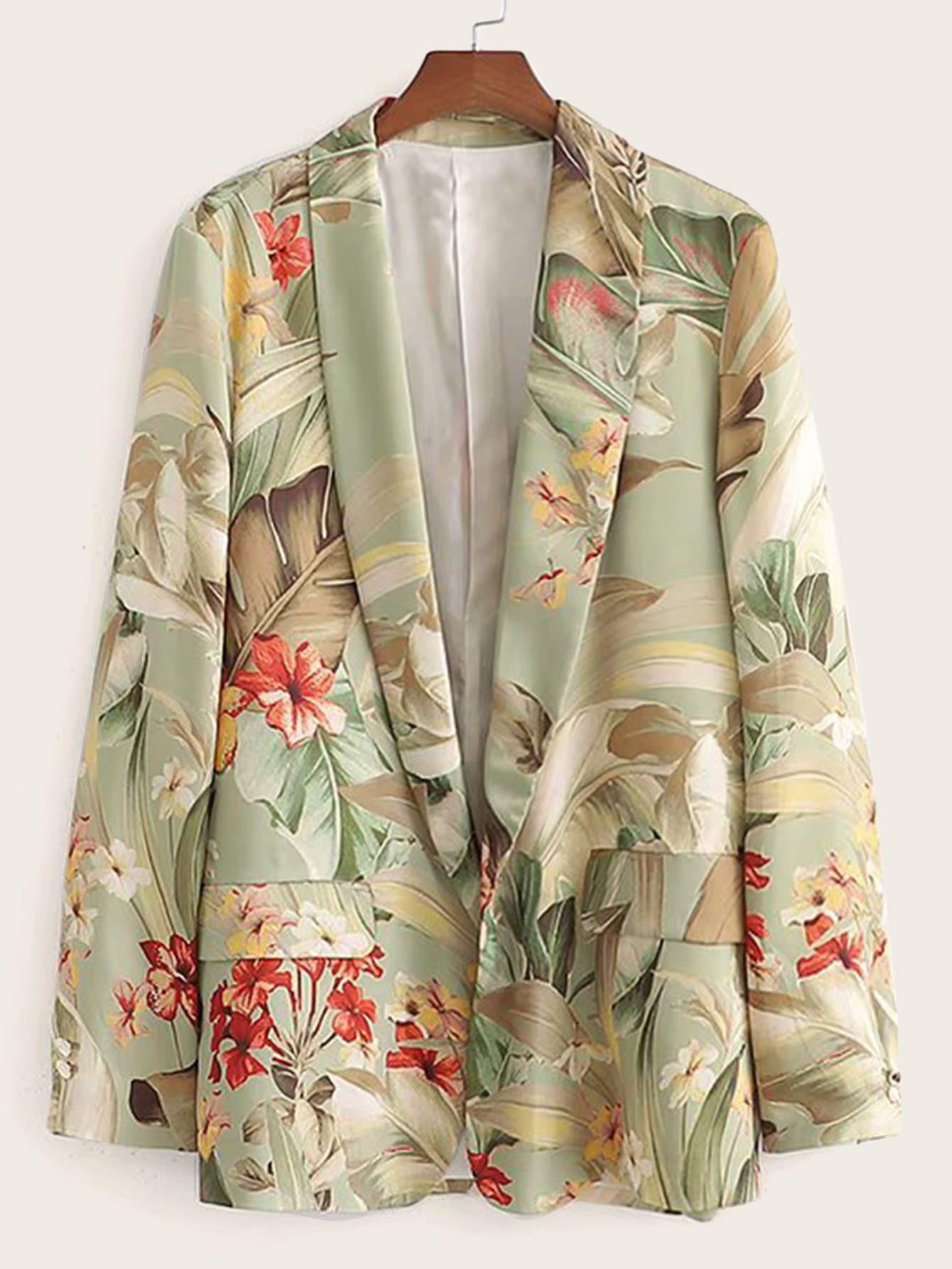Пиджак с шалевым воротником и цветочным принтом