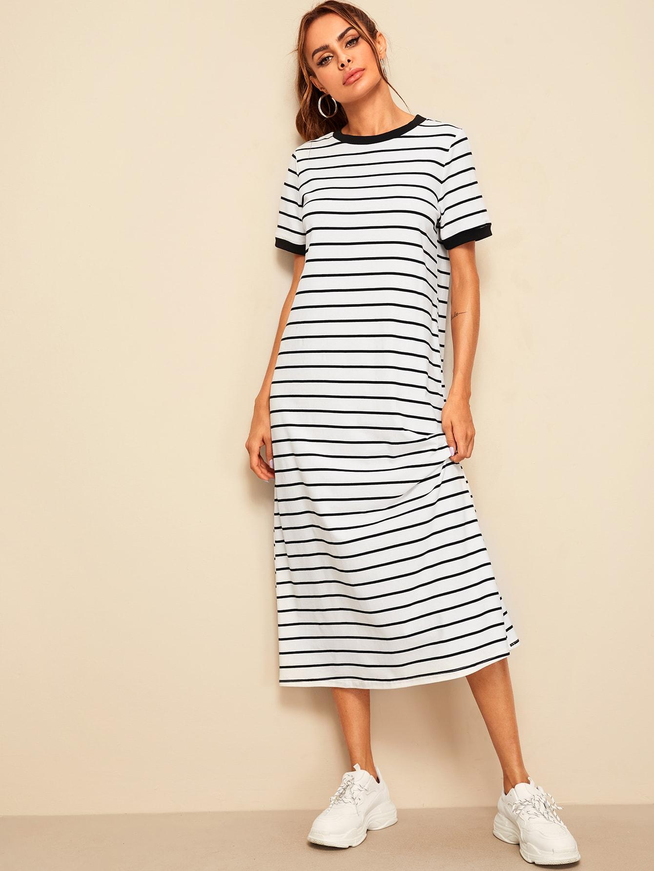 Фото - Полосатое платье-туника от SheIn цвет чёрнобелые
