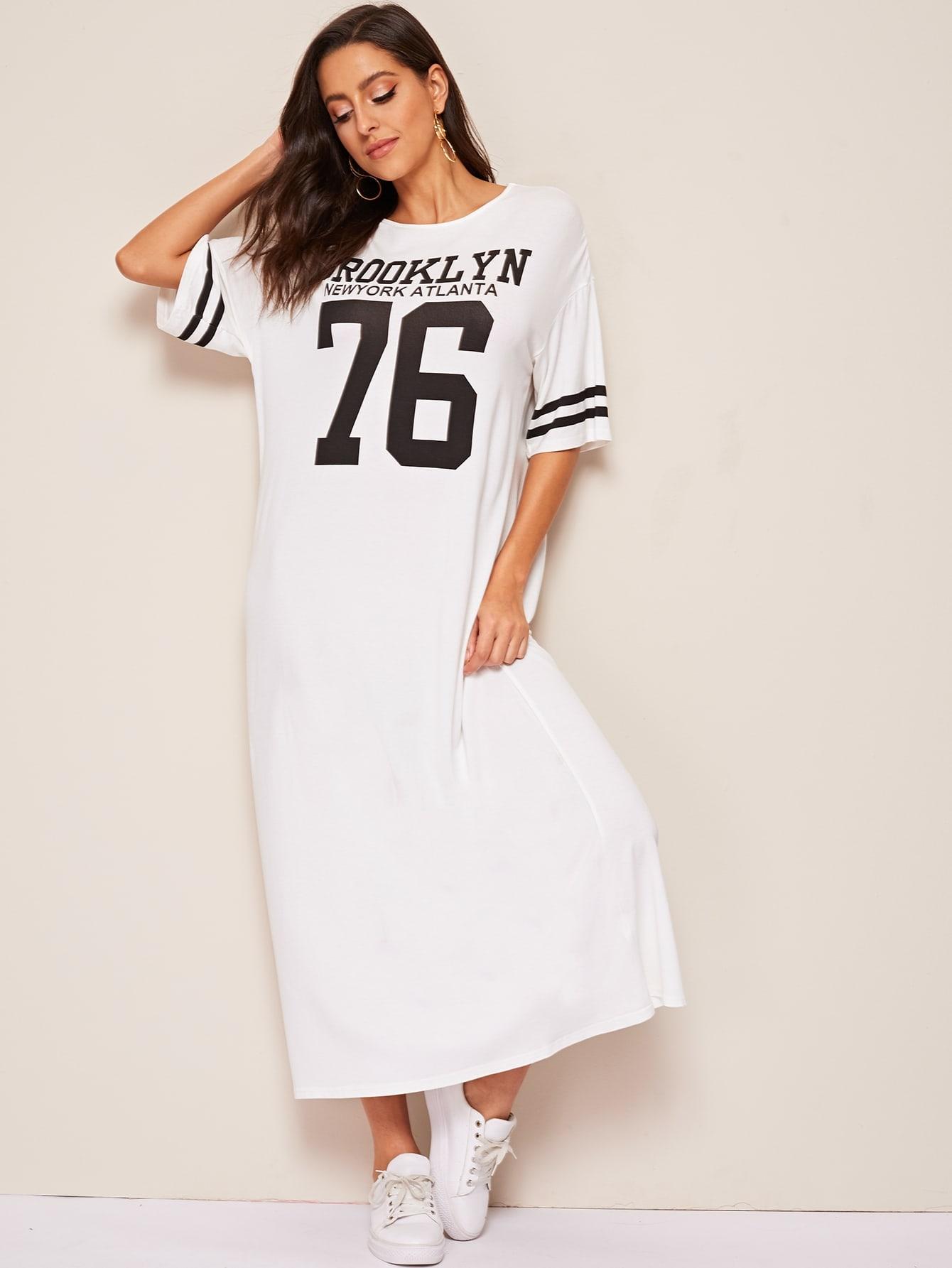 Фото - Платье с заниженной линией плеч и модным принтом от SheIn цвет белые