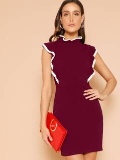 Contrast Binding Ruffle Trim Bodycon Dress