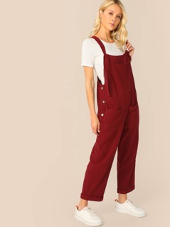Buttoned Side Pocket Patch Pinafore Jumpsuit