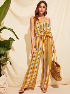 Tie Front Two Layer Striped Palazzo Cami Jumpsuit