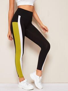 Wide Band Waist Colorblock Leggings