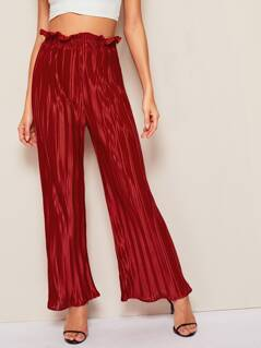 Paperbag Waist Pleated Velvet Palazzo Pants