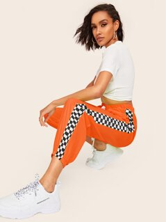 Neon Orange Checked Panel Carrot Pants