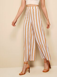 Wide Band Waist Striped Palazzo Pants