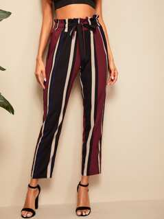 Paperbag Waist Striped Pants