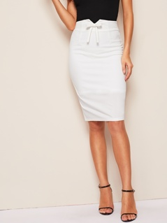 Notched Waist Bow Front Split Hem Pencil Skirt