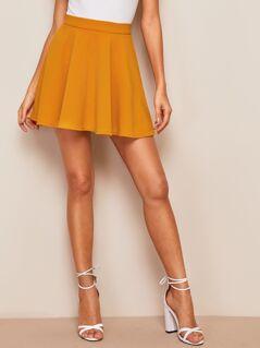 Zip Back Textured Skater Skirt