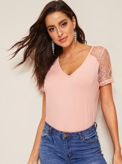 V-neck Lace Insert Top