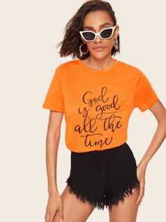 Neon Orange Slogan Print Slub Knit T-shirt