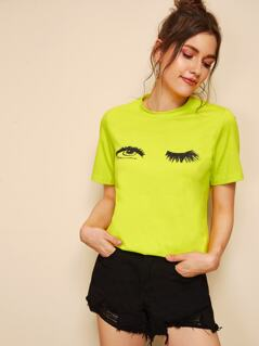 Neon Lime Eye & Eyelash Print Tee