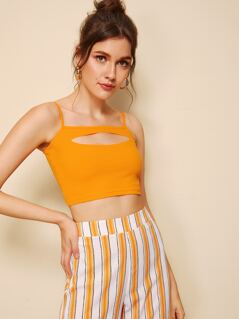 Cut Out Front Crop Cami Top