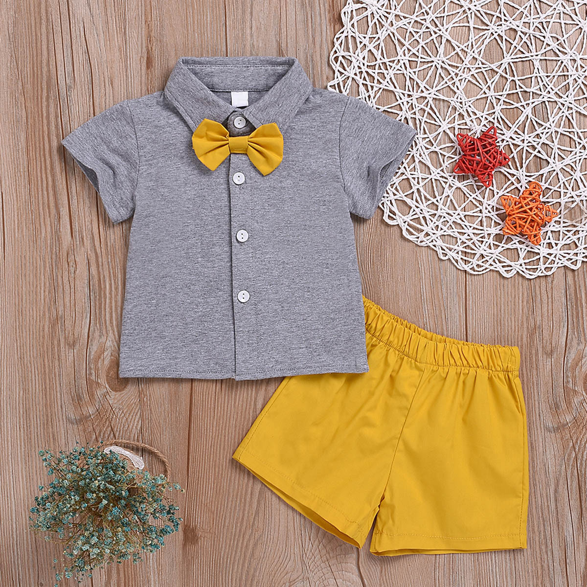 Рубашка с пуговицами и шорты для маленьких мальчиков от SHEIN
