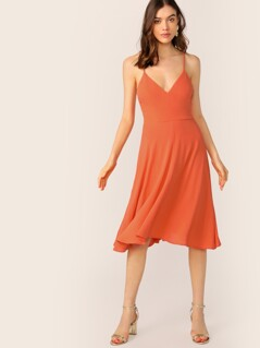 Neon Orange Crisscross Lace Up Back Cami Sundress