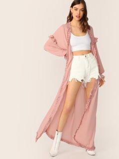 Frill Trim Maxi Kimono