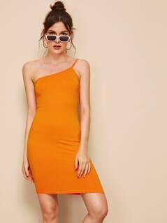 One Shoulder Form Fitting Asymmetrical Dress