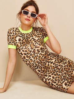 Colorblock Form Fitted Leopard Ringer Dress