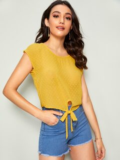 Swiss Dot Knotted Hem Top