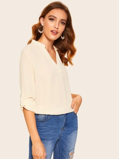 Solid Tab Sleeve V Neck Top