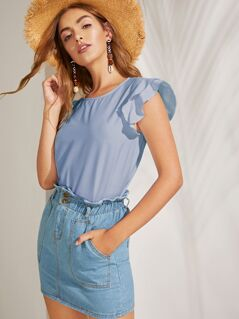 Solid Layered Ruffle Armhole Top