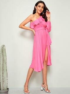 Neon Pink One Shoulder Ruffle Trim Belted Dress