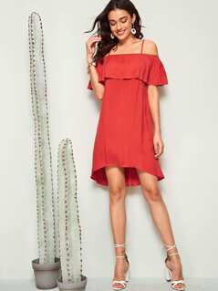 Cold Shoulder Ruffle Trim Slip Dress