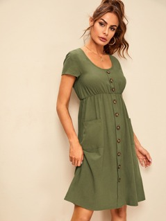 Button front Pocket Patch Tea Dress