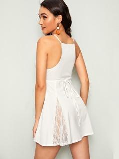 Lace Trim Knotted Back Mini Slip Dress