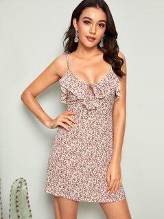 Ditsy Floral Zip Back Ruffle Trim Mini Sun Dress