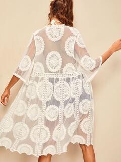 Embroidered Lace Sheer Mesh Kimono