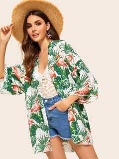 Jungle Leaf Print Kimono