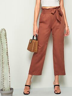 Solid Paperbag Waist Crop Straight Leg Pants