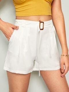 Slant Pocket Belted Shorts