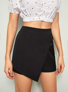 Solid Asymmetrical Wrap Skirt Shorts