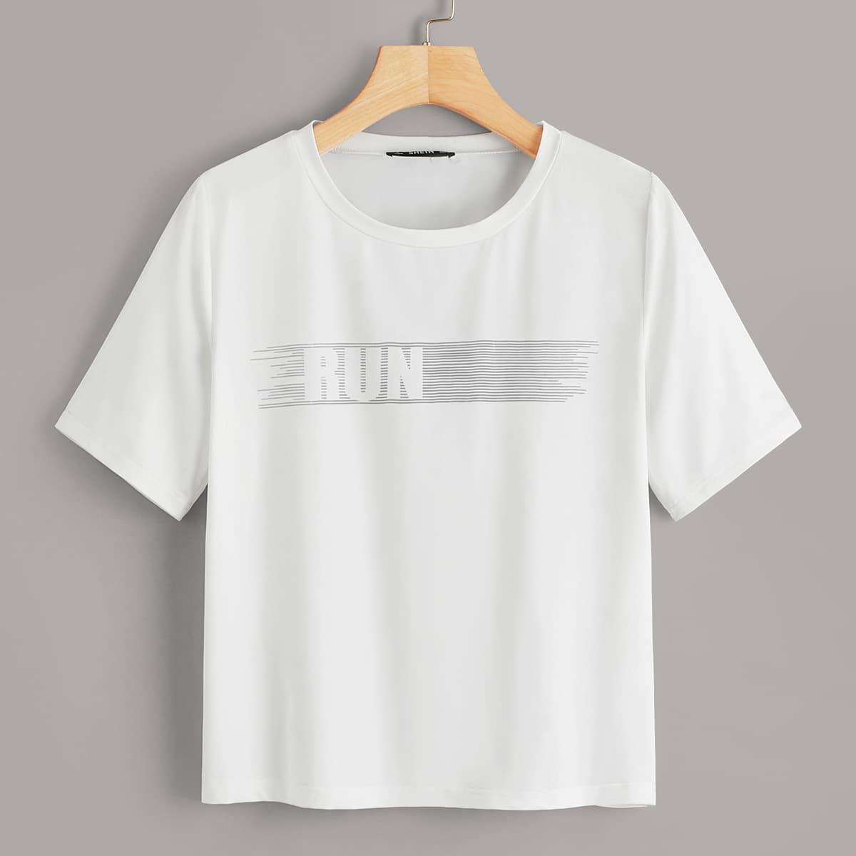 Wit Tekst Sport T-shirts