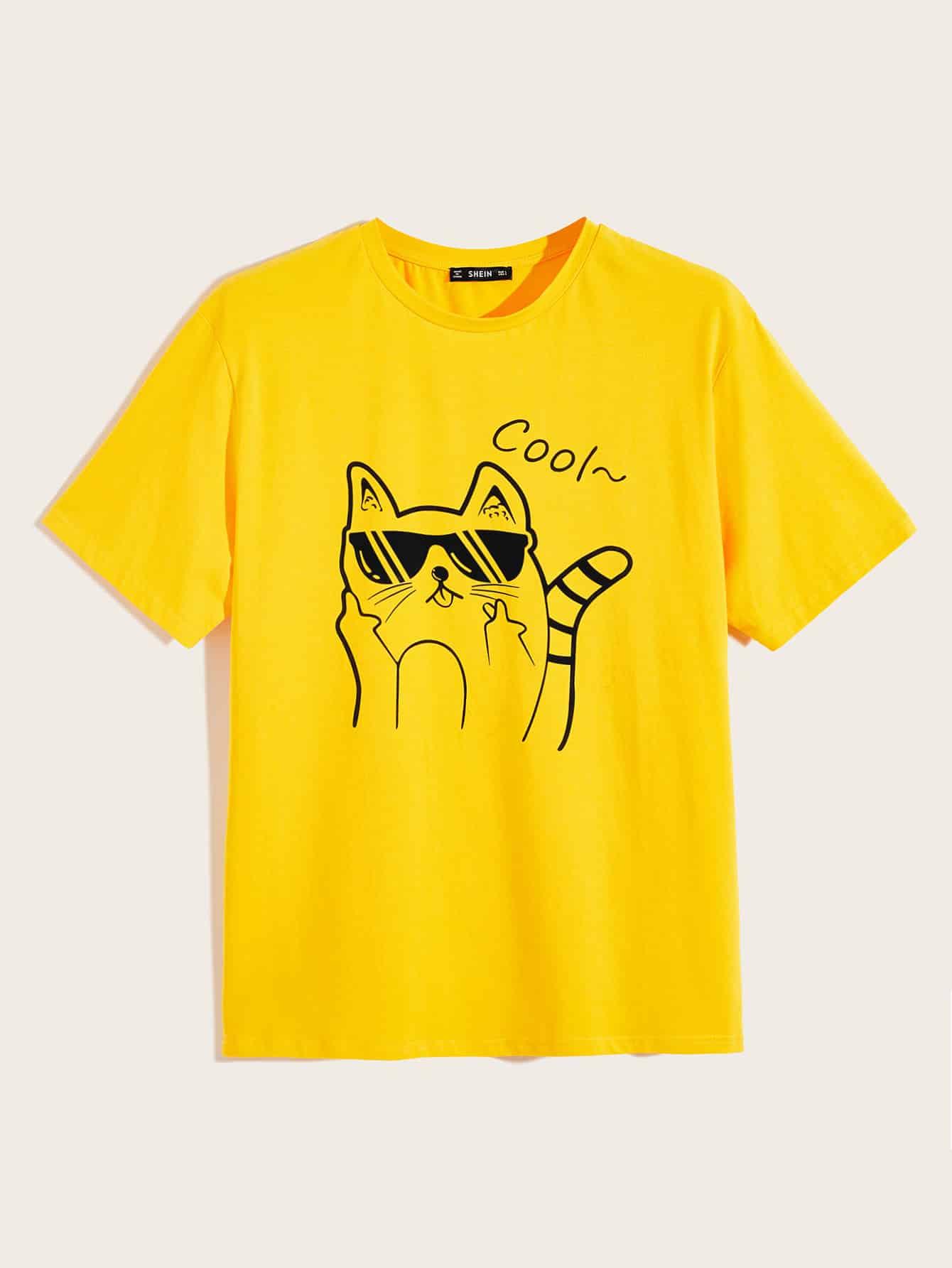 Фото - Мужская футболка с текстовым и графическим принтом от SheIn цвет жёлтый